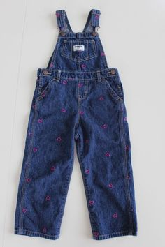 OSHKOSH  Dark Blue Denim w/ Pink Embroidered Hearts Overalls Girls 3T #OshKoshBgosh #Everyday