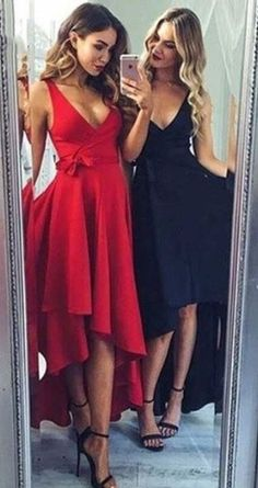 Chic High-Low Party Dresses V-Neck Sash Sleeveless Homecoming Dresses