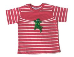 LIZARD T-SHIRT | CHILDREN Interactive t-shirt  This lizard is so heavy! Look what it's done to the t-shirt stripes.  (The lizard has a velcro on its belly which allows it to leave the t-shirt and play around)  Sizes from 12 months to 6 years old.