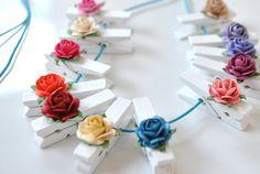 Set of 12 Mini Decorative Cloths Pins Vintage by KcArtsAndCrafts, $3.95