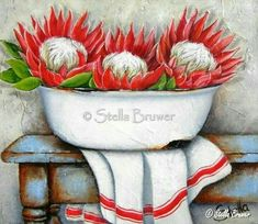 ♥ Stella Bruwer South Africa white enamel basin red and white protea white towel with red stripe on rusty blue table Protea Art, Bull Painting, Fabric Painting, Decoupage Vintage, Vintage Art, Watercolor Flowers, Watercolor Art, Stella Art, Painting Lessons