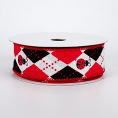 "1.5"" Argyle Ladybugs Ribbon (10 Yards) Deco Mesh Ribbon, Wired Ribbon, Fabric Ribbon, Halloween Deco Mesh, Fall Halloween, Craft Outlet, Printed Ribbon, Red Glitter, Christmas Deco"