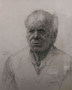 """Yanko Tihov; Graphite, Drawing """"Face One"""""""