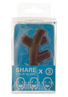 Tree-t for Your Ears Headphone Splitter in Bark, #ModCloth