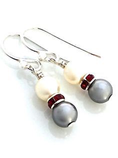 Small cream and grey faux pearl earrings by #UrbanClink $24.50  #Vegan #PearlEarrings #SmallEarrings
