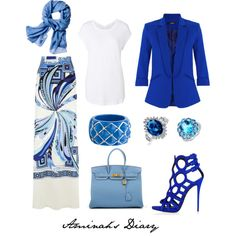 http://aminahshijabdiary.wordpress.com/ #hijab #muslimah #style #ootd #fashion #look #outfit #pucci #skirt #blazer #blue #white