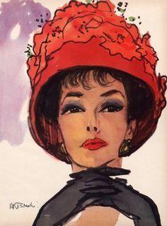 1959 Frances Denney Lipstick Hat - by Rene Bouche
