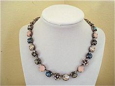 Swarovski Crystal Denim Rose Tennis Necklace, 11mm, sabika