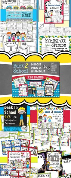 The Back to School MEGA BUNDLE contains a crazy SEVEN of the BEST BACK TO SCHOOL resources from TIED 2 TEACHING at an INCREDIBLY DISCOUNTED RATE!   This is your one stop shop. The Back to School Mega Bundle includes back to school printables, get to know you task cards, back to school opinion writing prompts on four square organizers, incentive coupons, editable rules posters, a back to school lapbook, games, & get to know you ideas and so much more!