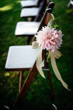 Dahlias a ribbons to line the aisle. Photography By / http://aaroncourter.com,Wedding Coordination By / http://champagnenw.com