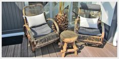 Lounge stoel riet krukje hout veranda inrichting woning