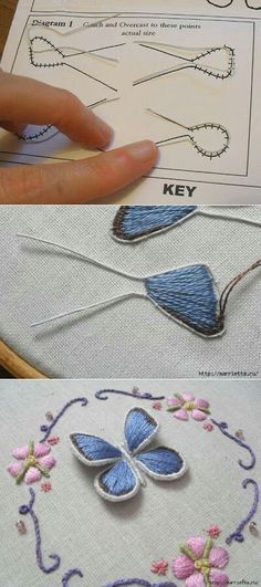 Needlework Projects How to embroider butterfly wings The bulk embroidery. How to embroider butterfly… - Salvabrani - Salvabrani Tambour Embroidery, Learn Embroidery, Silk Ribbon Embroidery, Hand Embroidery Patterns, Embroidery Thread, Cross Stitch Embroidery, Butterfly Embroidery, Embroidered Butterflies, Brazilian Embroidery
