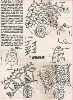 Crochet everything. Crochet Christmas Ornaments, Christmas Crochet Patterns, Crochet Snowflakes, Crochet Flower Patterns, Christmas Bells, Crochet Flowers, Knitting Patterns, Handmade Christmas, Crochet Diagram