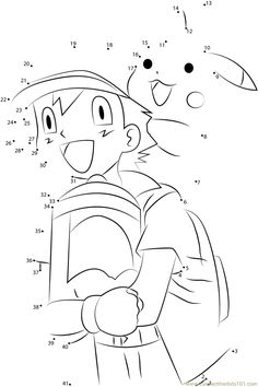 Download Or Print Happy Ash And Pikachu Dot To Dot Printable Worksheet From  Cartoons,Pokemon