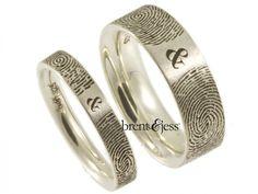 Set of You & Me forever F... Brent & Jess Fingerprint Wedding Rings Custom Handmade Fingerprint Jewelry