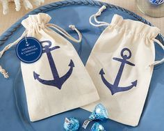 """Bon voyage! Our """"Voyages"""" Anchor Muslin Favor Bags (Set of 12) will certainly make quite the statement when you send your guests away with a goodie bag full of treats. Though they're perfect as DIY wedding favors, we invite you to use them for any occasion:  baby showers, birthday parties, and much more! They're ideal for commemorating any nautical-inspired or seaside event, especially when you pack them full of a yummy surprise!Size: Favor bag measures 6"""" h x 3 3/4"""" wDetails: Sold as a set…"""