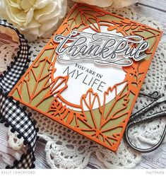 Thankful Thoughts + On the Border: Fall Foliage + Sweet Blessings + Inside Greetings – Ink to Paper Thanks Greetings, We R Memory Keepers, Fall Cards, Gold Ink, Hibiscus, Blessed, Thankful, Thoughts, Paper