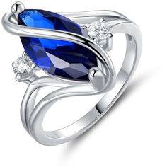 3CTTW Marquise Blue Sapphire S Ring by PeermontSize 5 ($15) ❤ liked on Polyvore featuring jewelry, rings, jewelry & watches, blue sapphire ring, blue sapphire jewelry, unisex rings and unisex jewelry