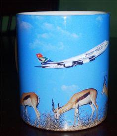 SOUTH AFRICAN AIRWAYS MUG CUP Gazelles AEROPLANE Airplane TRAVEL (TAMS)