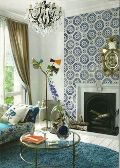 Wallpapered fireplace