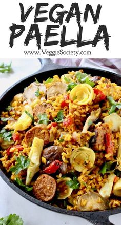 Easy vegetarian paella with brown rice, mushrooms and artichokes in saffron brot. Easy vegetarian paella with brown rice, mushrooms and artichokes in saffron broth Vegan Dinner Recipes, Veggie Recipes, Whole Food Recipes, Vegetarian Recipes, Healthy Recipes, Vegan Soul Food Recipes, Vegan Vegetarian, Easy Recipes, Easy Vegan Dinner