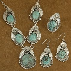 Navajo Arizona Spiderweb Turquoise Sterling Silver Jewelry Set Signature Collection Tom Ahasteen $1,200.00 #Alltribes