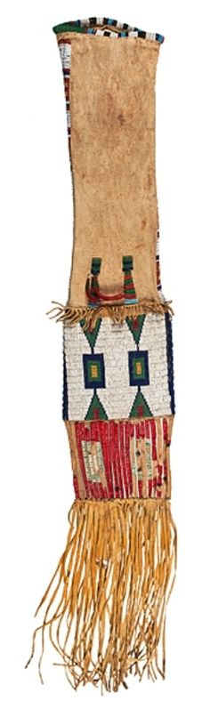 native american, America, Arapaho beaded hide tobacco bag, thread and sinew-sewn and beaded using colors of red white-heart, greasy yellow, white, light blue, and pea green [in a geometric design]; bag finished with quilled slats and hide fringe, total length 38 in.