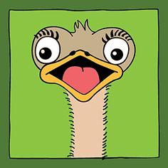 Vrolijk kinderschilderij van een struisvogel. Leuk voor in de babykamer of kinderkamer. Maar ook heel leuk om cadeau te geven bij een kraambezoek of verjaardag.