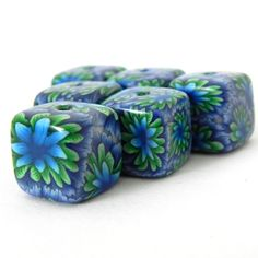 6 Square Handmade Polymer Clay Beads  Green Aqua Blue by LavaGifts, $12.00