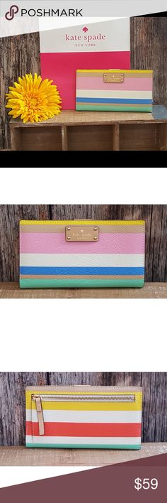 ☀️NWT Kate Spade Grove Street Stacy in Dune Stripe Authentic & Brand New with Tags!  Kate Spade Grove Street Printed Stacy (WLRU2830) in Dune Stripe (923) Retail value $139.00  🌞The perfect wallet for Spring & Summer!!  Please ask any questions you may have.   🚫All items are from a smoke & pet free home.  🛍Please visit my closet to BUNDLE & SAVE! Happy Poshing! kate spade Bags Wallets