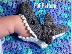 Crochet PATTERN for Shark Slipper Socks Infant and Adult sizes