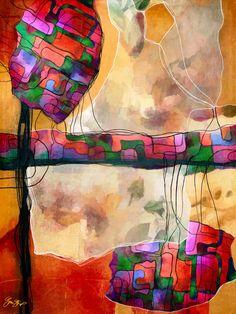 Mixed media abstract art by gina Startup