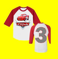 Disney Cars Birthday Shirt - Cars Birthday Shirt - Red 3/4 Sleeve is Shown by FashionistaStylez on Etsy https://www.etsy.com/listing/292552269/disney-cars-birthday-shirt-cars-birthday