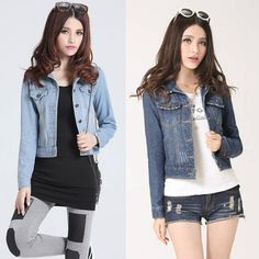 2017 Fashion Women Denim Jacket Vintage Cropped Short Denim Jackets Long-Sleeve Single Breasted Jeans Cardigan Coat Plus Size  #Affiliate