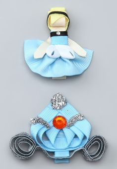 Another great find on Picki Nicki Hair Bowtique Blue & Silver Princess & Carriage Clip Set by Picki Nicki Hair Bowtique Ribbon Hair Clips, Ribbon Art, Ribbon Hair Bows, Ribbon Crafts, Hair Barrettes, Hairbows, Ribbon Flower, Princess Carriage, Cinderella Carriage