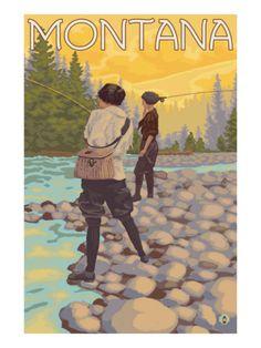 Vintage Travel Poster - USA - Montana - Fishing