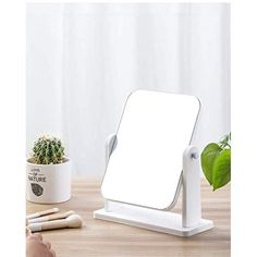 Vanity Makeup Mirror for Desk with Wood Stand, 360° Rotation Bathroom Shaving Make Up Mirror, Portable Table Tabletop… Wall Mirrors, Framed Wall, Small Standing Mirror, Tabletop Vanity Mirror, Portable Table, White Desks, Bedroom Dressers, Bathroom Countertops, Simple Style