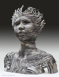 Perceiving the Flow: Human Figure Composed of Unraveling Stainless Steel Ribbons by Gil Bruvel steel sculpture Sculptures Sur Fil, Wall Sculptures, Metal Wall Sculpture, Steel Sculpture, Ribbon Sculpture, Art Visionnaire, Colossal Art, Visionary Art, Wire Art