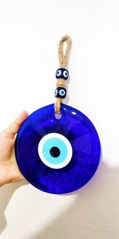 14 cm Handmade Evil eye Home decor and evil eye wall hanging Greek Blue, Greek Evil Eye, Diy Crafts Hacks, Evil Eye Charm, Diy Clay, I Love Jewelry, Blue Beads, Creative Crafts, Polymer Clay Jewelry