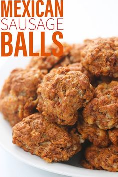Mexican sausage balls are a tasty twist on a crowd favorite. Made with chorizo and jalapeño biscuit mix these really pack a punch. Tostadas, Tacos, Chorizo Recipes, Mexican Food Recipes, Mexican Snacks, Jalapeno Recipes, Mexican Party, Finger Food Appetizers, Appetizer Recipes