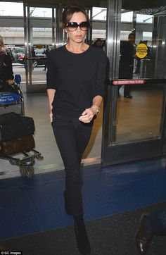 Jet set: Victoria Beckham was spotted arriving for a flight out of JFK Airport in New York on Tuesday