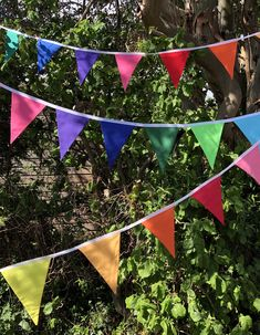 Rainbow Bunting - perfect for any celebration or event - ready to post and made to order lengths or colour combinations Festival Garden Party, Festival Themed Party, Rainbow Bunting, Rainbow Flag, Party Bunting, Party Flags, Lego Bedroom Decor, Outdoor Bunting, Hippie Birthday