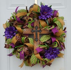 Easter Wreath, Year Round Wreath, Spring Wreath, Deco Mesh Wreath, Purple Wreath, Rustic Cross Wreath, Chevron Wreath, Leopard Wreath, Green for $80.00 by Kayla's Kreations