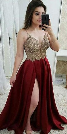 Slit dress prom - Burgundy Sexy Beaded Side Slit Prom Dress Custom Made Satin Beadings Evening Party Dress Fashion Long VNeck School Dance Dress – Slit dress prom School Dance Dresses, Grad Dresses, Homecoming Dresses, Sexy Dresses, Evening Dresses, Fashion Dresses, Formal Dresses, Burgundy Prom Dresses Long, Fashion Fashion