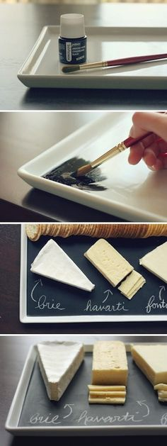 Chalkboard paint can be used for so many great DIY projects like a cheese plate!