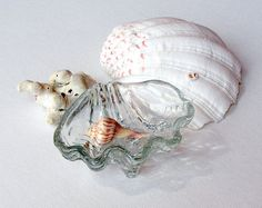 CIJ SALE Vintage Crystal Shell Trinket Dish by retrogroovie, $24.00