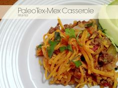 Paleo Tex-Mex Casserole on www.PopularPaleo.com -- Loaded with vegetables and grass-fed ground beef and topped with seasoned sweet potatoes -- it's filling and full of flavor!!