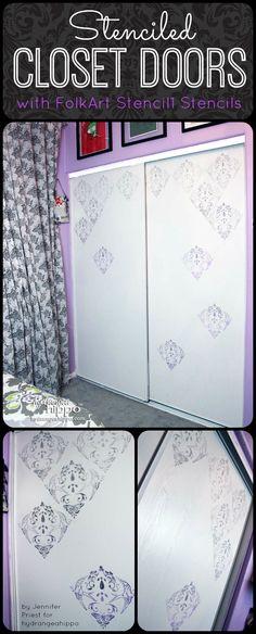 DIy Stenciled Closet Doors with FolkArt Stencil1 by Jennifer Priest of hydrangeahippo