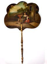 Antique Victorian Hand Painted Oil Painting, Papier Mache Face Screen, Fan, Children & Rural Scene