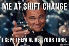 #jobmemes Night Shift Humor, Night Shift Nurse, Night Shift Quotes, Night Nurse Humor, Nurse Jokes, Nursing Memes, Funny Nursing, Nursing Quotes, Icu Nurse Humor